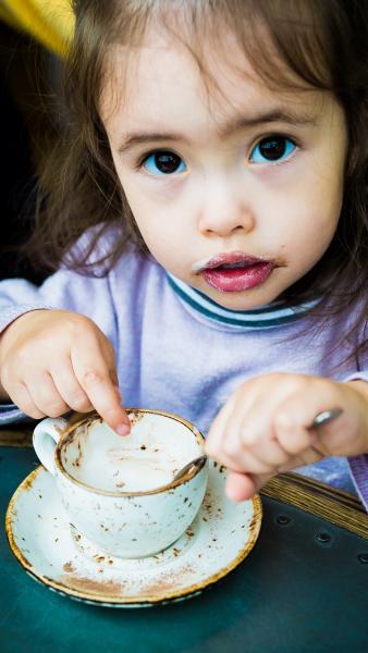 Arabella having a coffee break